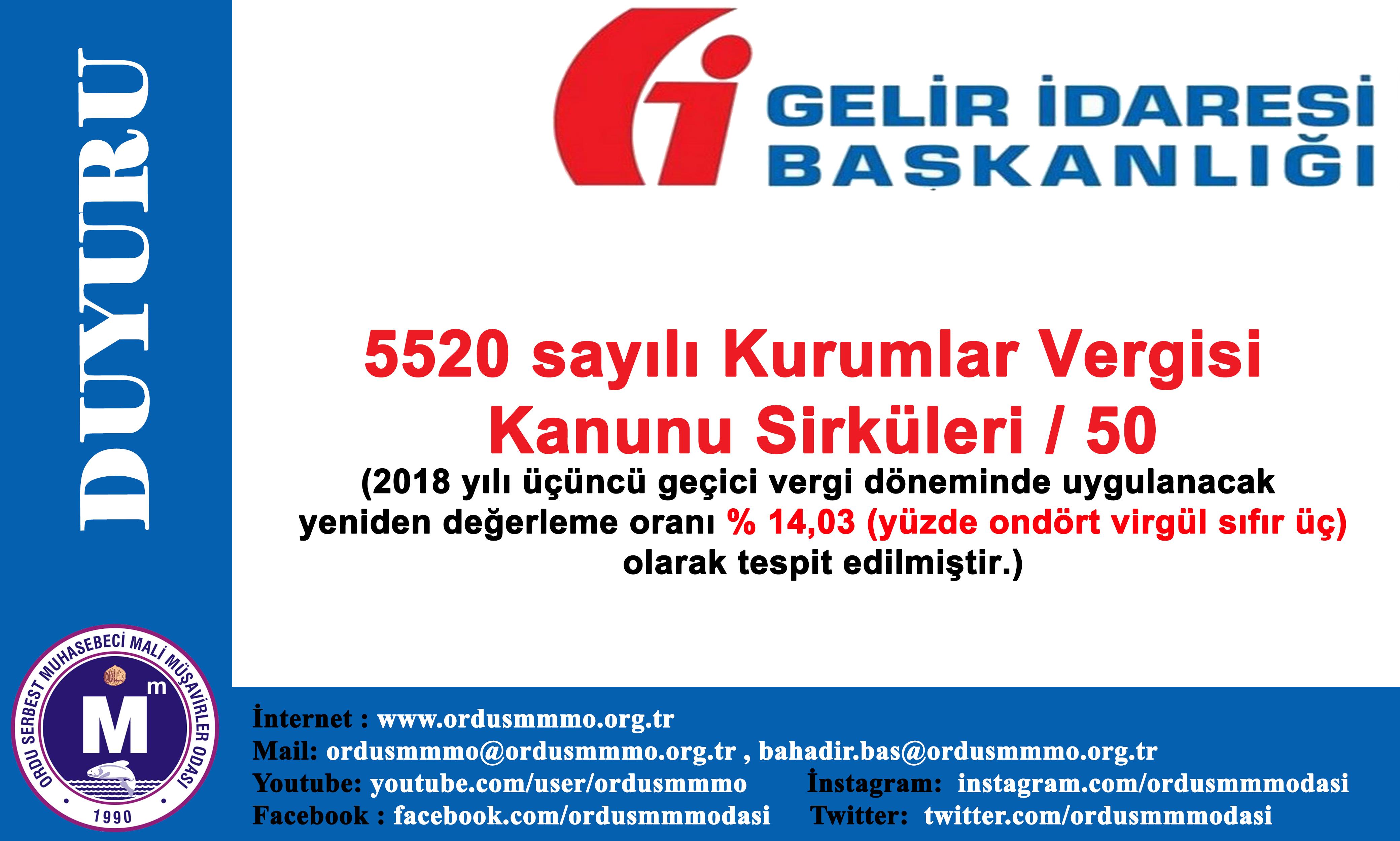 5520 sayılı Kurumlar Vergisi Kanunu Sirküleri/50